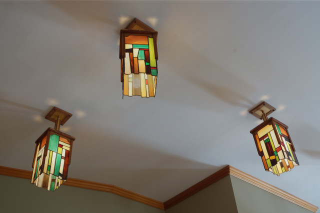 Stained glass pendant light stained glass pendant light craftsman living room mozeypictures Gallery
