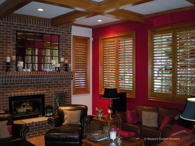 Stained shutters traditional-living-room