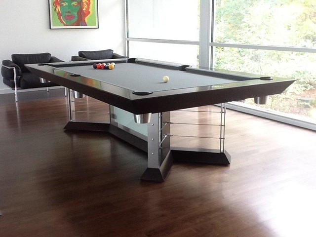 Stainless steel pool tables modern game tables new york by mitchell - Billard table moderne ...