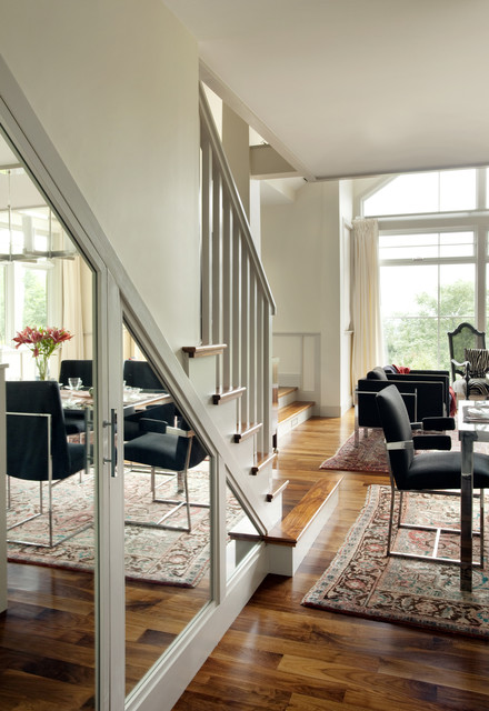 Stairs Transitional Living Room Boston By HP Rovinelli - Living room with stairs