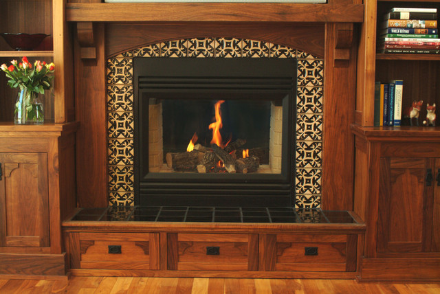 Starr fireplace surround craftsman style in black walnut for 12x15 living room