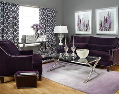 I have grey silver damask wallpaper and plum leather sofas - Gray and plum living room ...