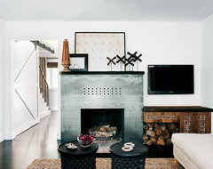 Steel Modern Fireplace eclectic-living-room