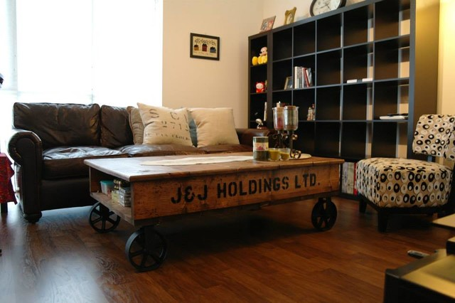 Stenciled Coffee Table On Iron Spoke Wheels Living Room