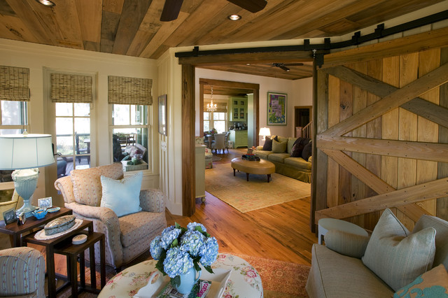 Example Of A Mountain Style Enclosed Living Room Design In Atlanta