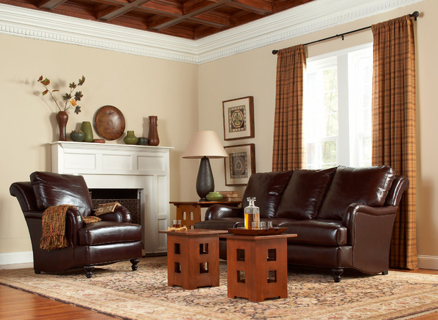 Stickley Leather Collection Traditional Living Room