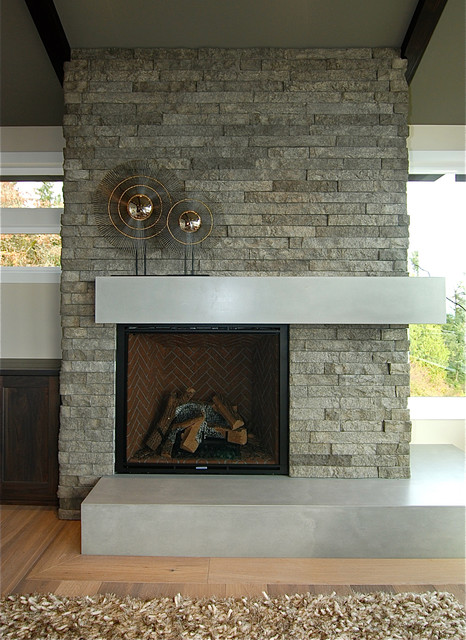 stone accent wall living room accent wall transitional living room seattle 19244