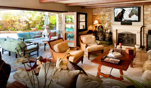 Stone accent wall rustic living room los angeles - Stone accent wall living room ...