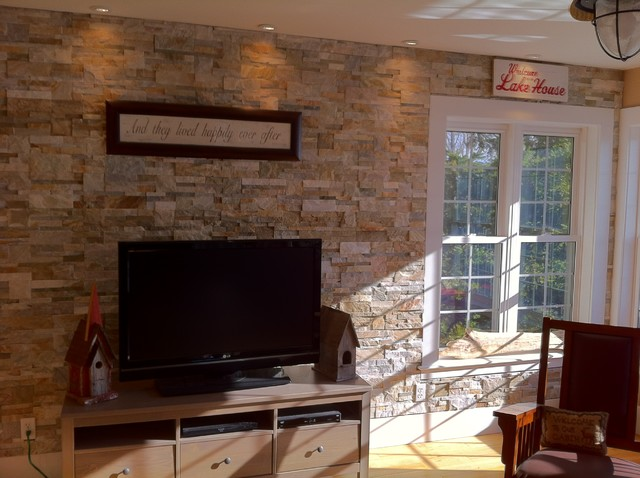 Stone Accent Wall Natural Ledge Stacked Beach Style Living Room
