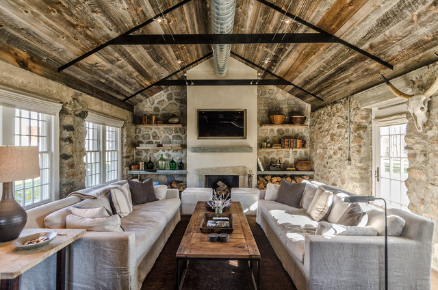 Stone Cottage And Barn Rustic Living Room