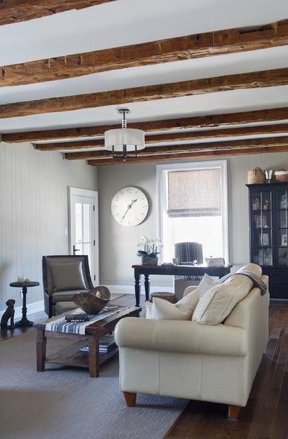 Stone Farmhouse Transitional Living Room Toronto