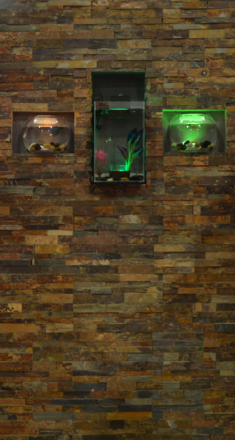 Stone feature wall with encase aquarium - Contemporary - Living Room - ottawa - by Canadian ...