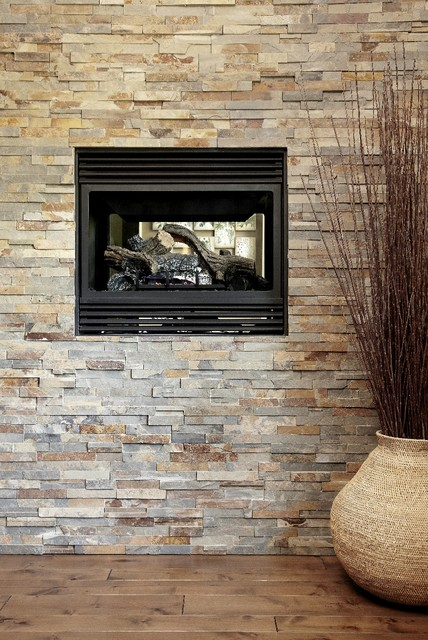 Stone Feature Wall with Fireplace contemporary-living-room