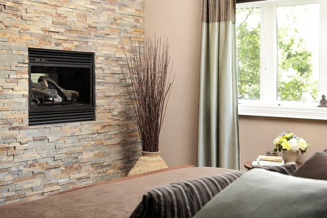 Stone feature wall with fireplace - Living room ideas with feature wall ...