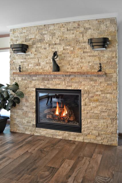Stone fireplace contemporary