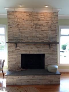 Stone Fireplace Ledgestone W Stone Slab Mantle And Hearth