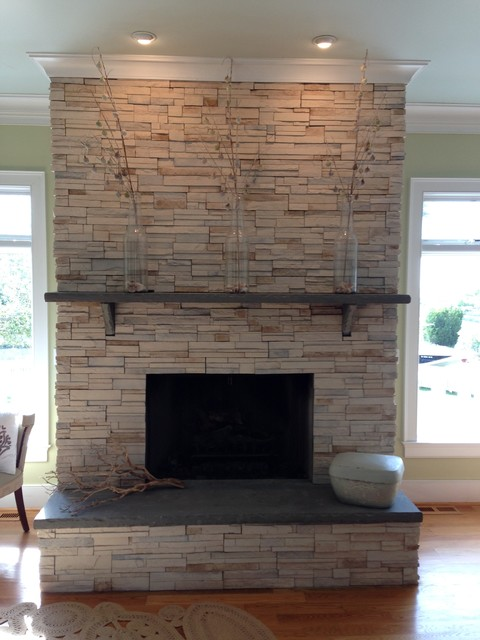 Stone Fireplace Ledgestone W Stone Slab Mantle And