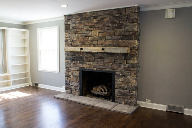 Stone Fireplace Beach Style Living Room indianapolis