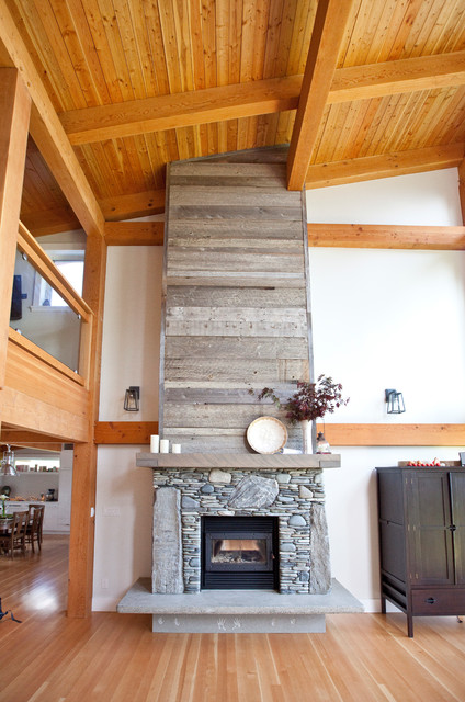 Stone Fireplace With Reclaimed Bargeboard Finish