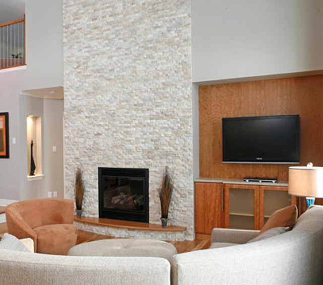Stone Fireplace With TV Contemporary Living Room New York By