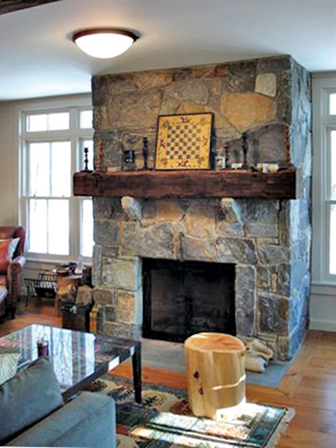 Modern vintage living room ideas - Stone Fireplace With Vintage Beam Mantle Farmhouse