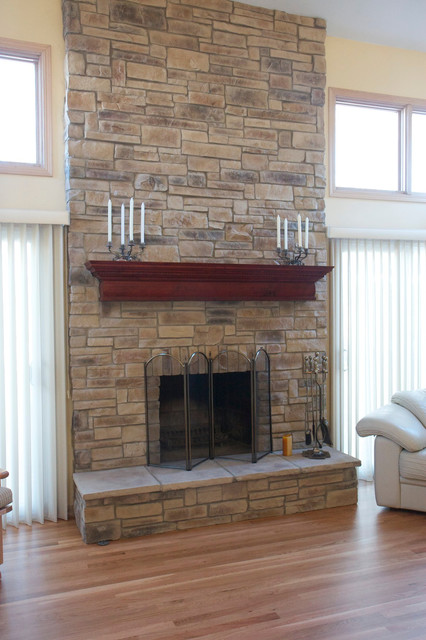 Our client wanted to update his brick fireplace. They wanted texture