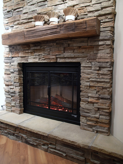 "This is one of our favorite stones for fireplace surrounds. ""I love the stone fireplace"