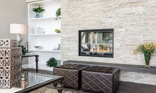 Living Room Faux stone Wall Panelling