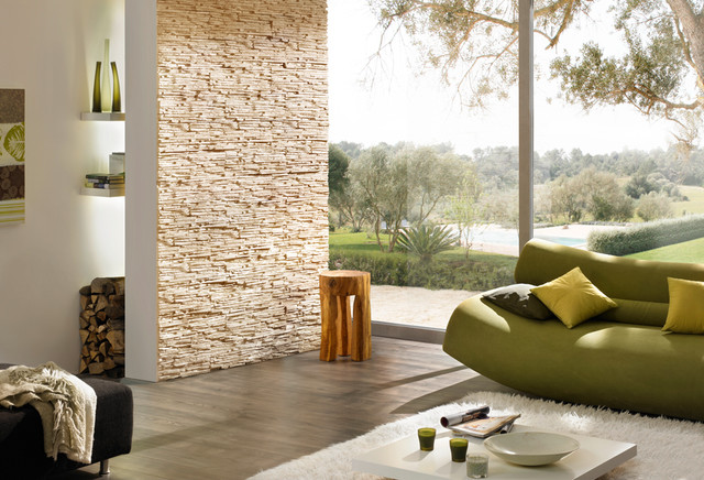 Stone-look feature wall Stone Design Pegasus series beige  contemporary-living-room