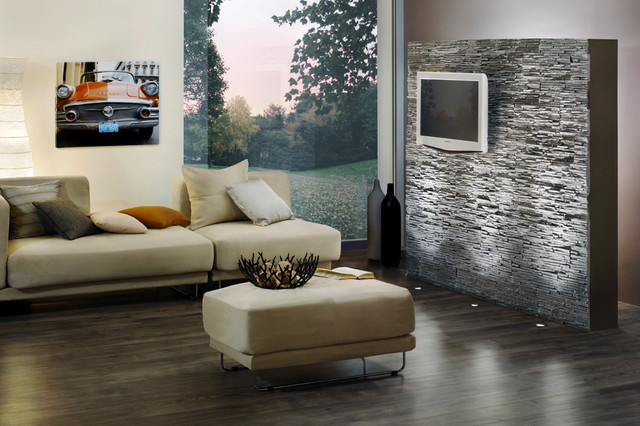 Stone look feature wall stone design pegasus series gray - Purple feature wall living room ideas ...