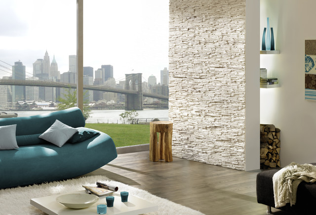 Stone Look Feature Wall Stone Design Pegasus Series White Contemporary Living Room New