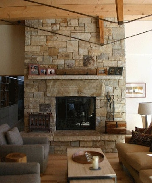 Stone Two Sided Fireplace Contemporary Living Room