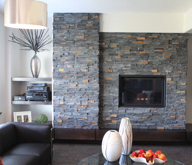 Stone veneer fireplace modern living room baltimore for Living room stone wall designs