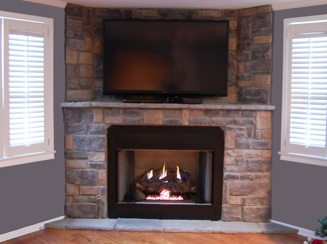 stone veneer gas fireplace traditional living room nashville rh houzz com