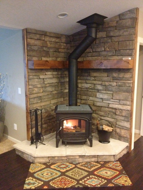 Stone work fireplace woodstoves Living room ideas with stoves
