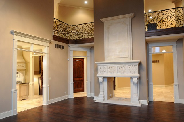 Stoneleigh Cast Stone Fireplace Mantel with #8 Overmantel - Traditional - Living Room - dallas ...