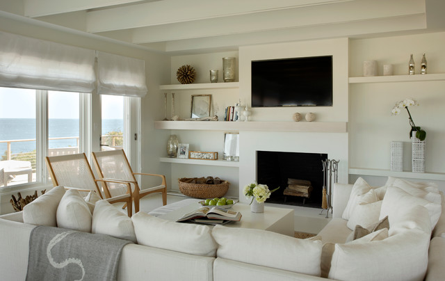 Inspiration For A Beach Style Formal And Open Concept Living Room Remodel  In Boston With Beige