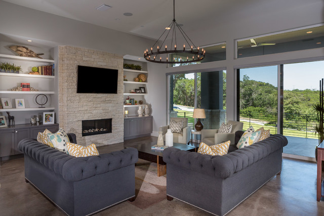 Example Of A Trendy Living Room Design In Austin