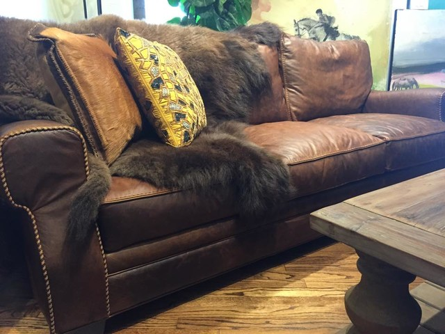 Stonewood Bison Leather Sofa Austin Tx Houston Rustic Living Room
