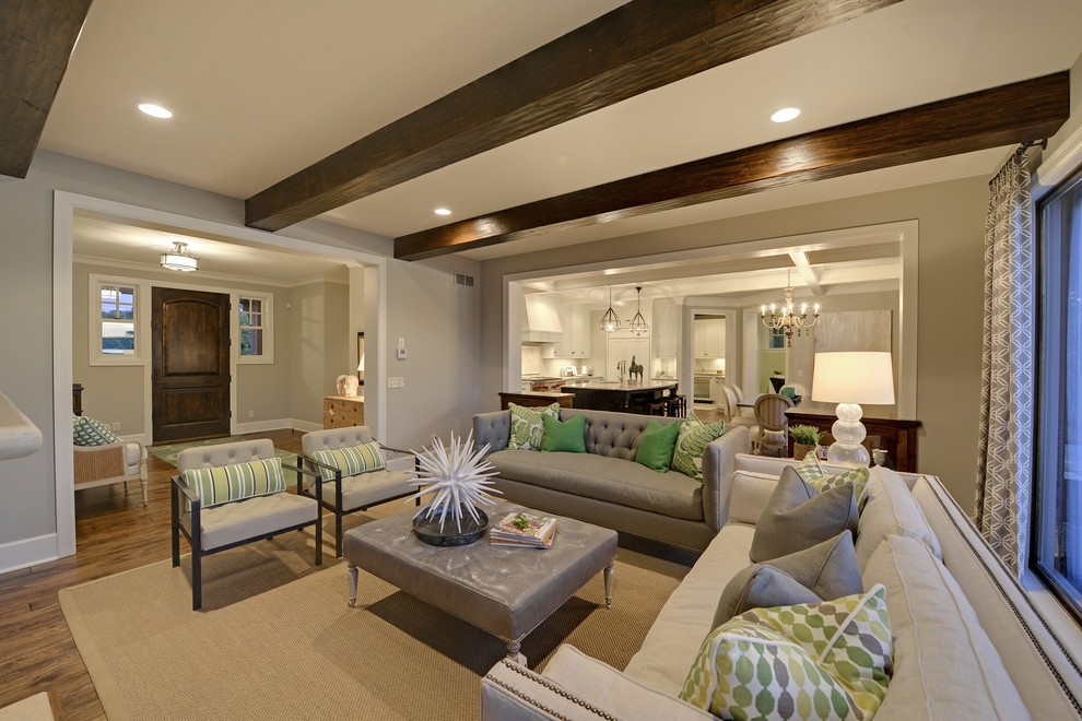 Inspiration for a timeless living room remodel in Minneapolis with beige walls