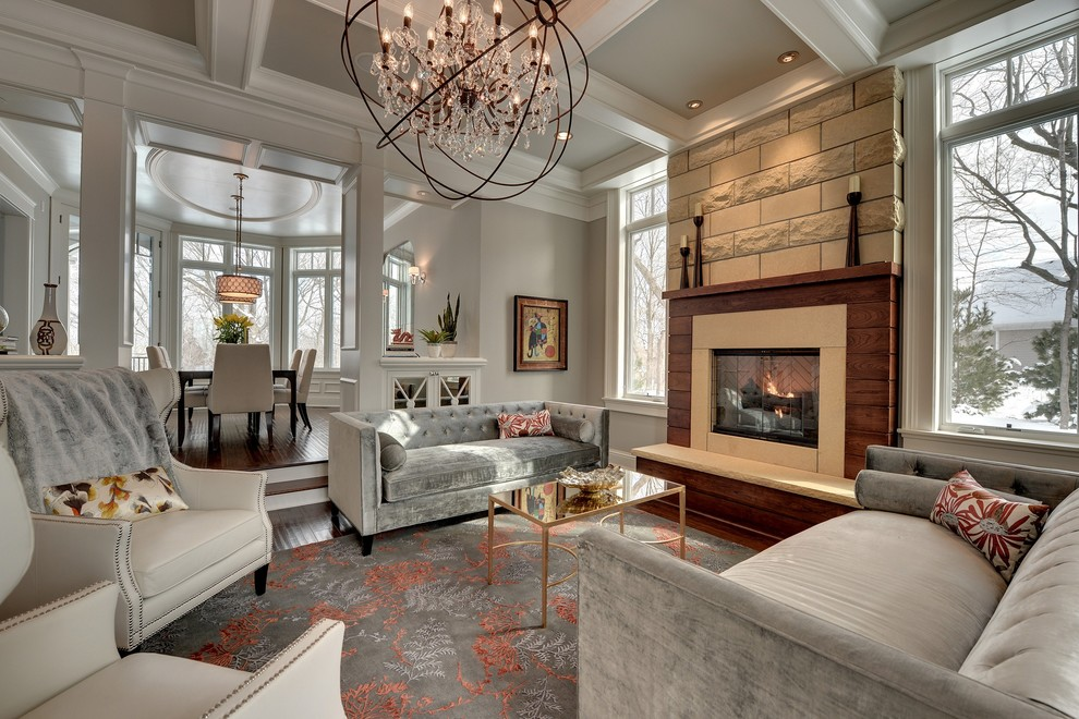 Living room - traditional living room idea in Minneapolis with gray walls and a standard fireplace