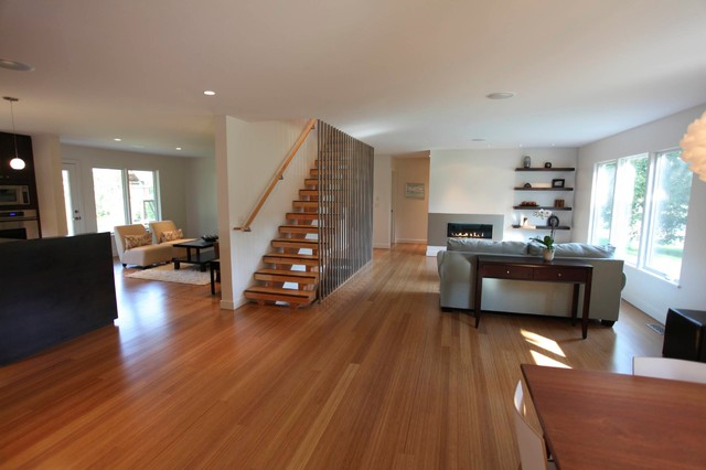 Strand woven bamboo flooring contemporary living room for Bamboo living room ideas