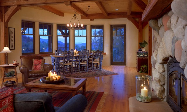 Strawbale Living and Dining Room rustic-living-room