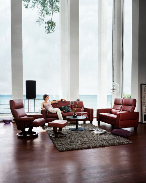 Stressless Wave High Back Loveseat, Low Back Sofa U0026 Atlantic Chair And  Ottoman Contemporary