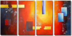 Stretched Handmade Abstract painting contemporary-living-room