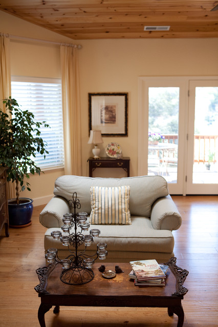 surprising new england style living room | Striped Loveseat, New England Style - Traditional - Living ...