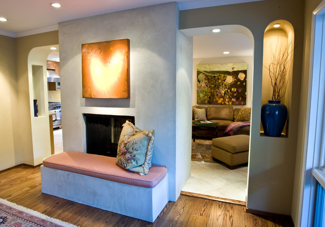 Stucco Fireplace Surround Contemporary Living Room San Francisco By G