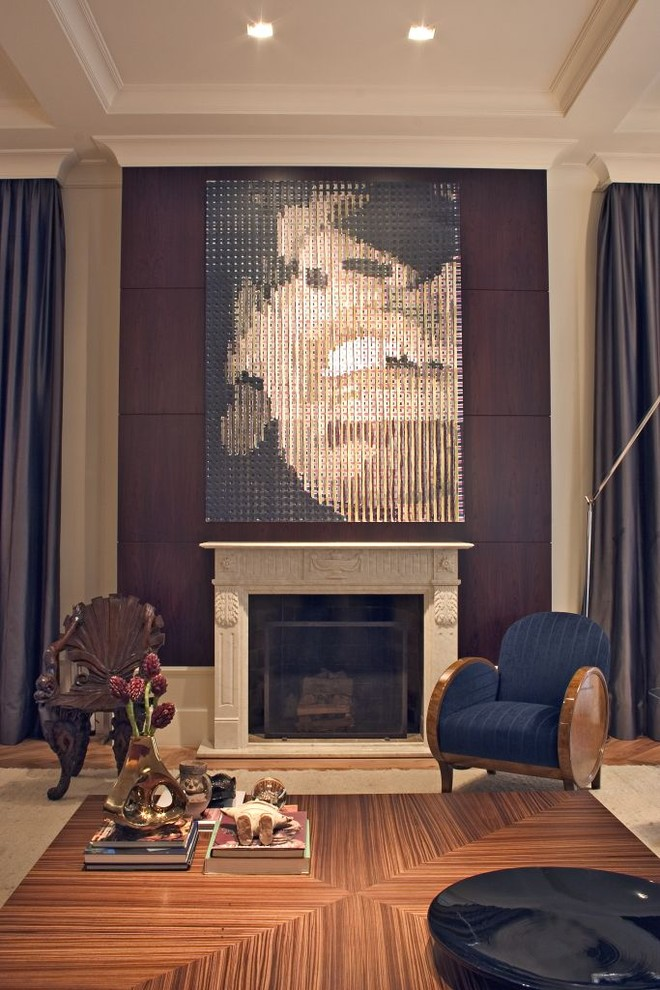 Trendy living room photo in Other with a standard fireplace