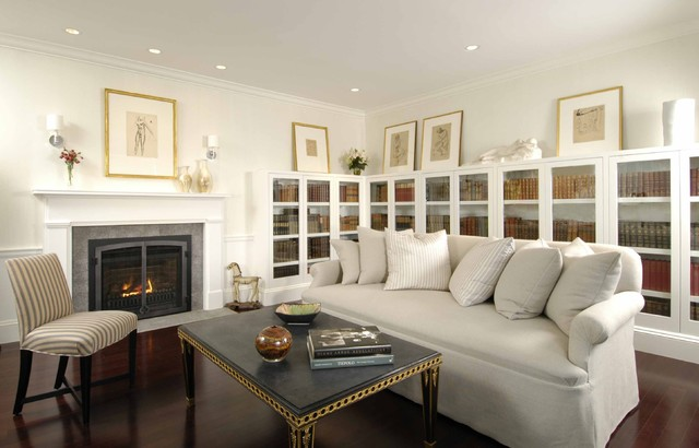 Study With Gas Insert Fireplace Contemporary living room