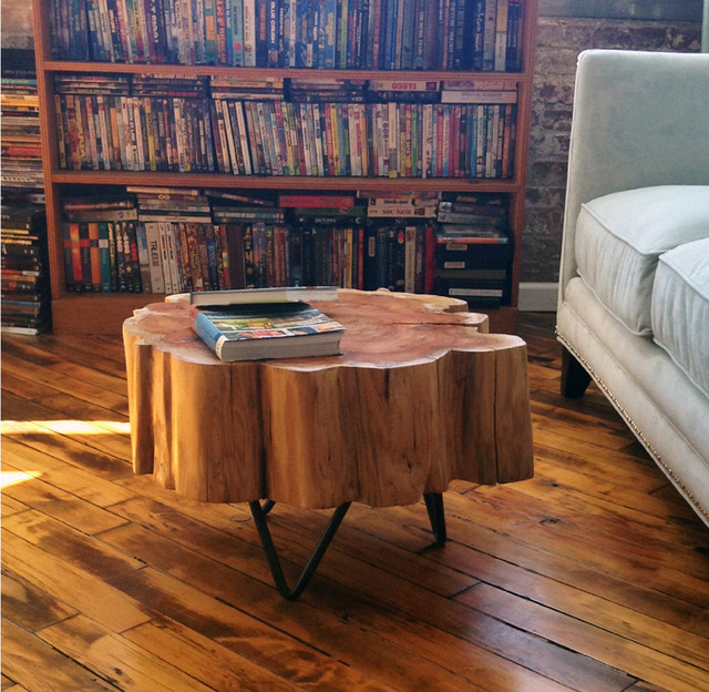 Stump tables contemporary-living-room